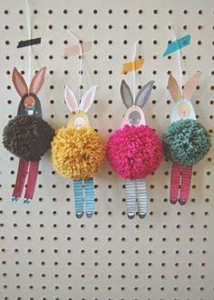 DIY pom pom bunnies Easter craft