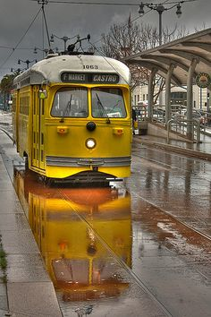 Yellow Street Car - San Francisco California. Street cars, interurban lines, used to exist in many cities around the world.