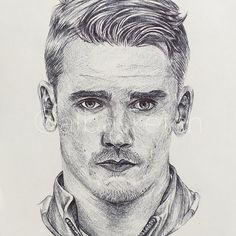 Antoine Griezmann by albasketch #draw #drawing #illustration #art #artist #sketch #sketchbook #ink #Griezmann #Antoine #football #atletcio #albasketch