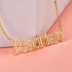 Personalized Name Necklaces are never out of style. #personalizedjewelry #namenecklaces #customjewelry #uniquejewelry #namenecklace #namejewelry Name Jewelry, Custom Jewelry, Jewelry Gifts, Unique Jewelry, Custom Name Necklace, Personalized Necklace, Necklace Types, Gold Necklace