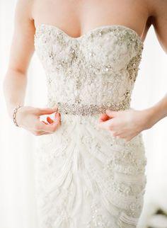 elegant beading on form fitting wedding dress