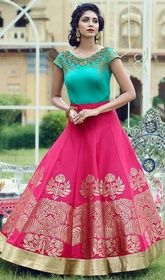 Pink and Blue Color Satin Embroidered Long Anarkali Suit #anarkalifloorlengthsuits #anarkalipants Tone an impression ineffable and indescribable clad in this pink and blue color satin embroidered long Anarkali suit. The ethnic lace and resham work within the attire adds a sign of attractiveness statement with your look. USD $ 122 (Around £ 84 & Euro 93)