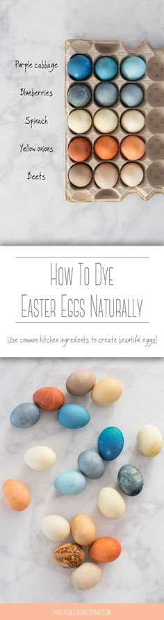 Learn how to dye Easter eggs naturally using common kitchen ingredients! Includes a comprehensive color chart and tips for getting the exact shade you want!