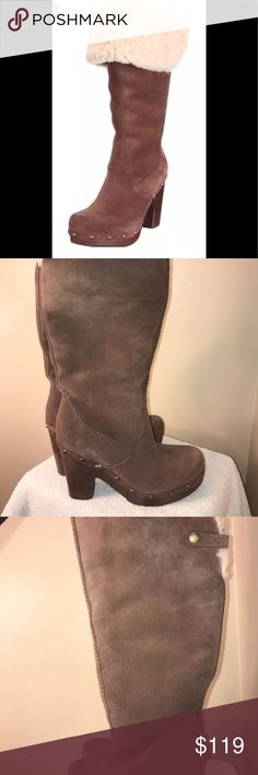 UGG Lillian Tall Brown Suede Boots 8.5! These are UGG Lillian Tall Brown Suede Boots. They are fur lined. Wooden heels. Platform style as show in the pictures. They are a size 8.5! Worn a handful of times. UGG Shoes Heeled Boots