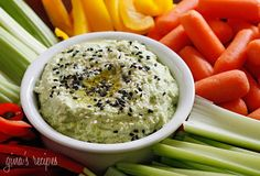 Edamame Hummus – a healthy snack made with edamame instead of chickpeas, perfect for dipping veggies into!