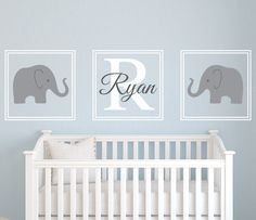 Baby Nursery Decor, Three Pieces Elephants Baby Name Decals For Nursery Decals…