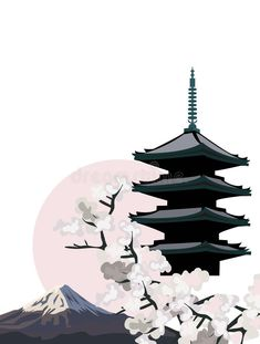 Photo about Background illustration with Pagoda Temple and Cherry Blossoms. Illustration of historic, mountain, background - 21904554 Japan Illustration, Japanese Drawings, Japanese Prints, Japanese Art, Japanese Temple Tattoo, Temple Drawing, Pagoda Temple, Japanese Background, Japanese Pagoda