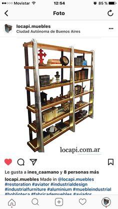 Vitrina biblioteca estilo industrial modelo aviator realizada en La Petite Galerie