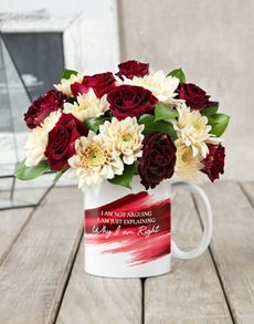 gifts: I am Right Rose Mug Arrangement! Same Day Delivery Service, Ladies Day, Table Decorations, Mugs, Rose, Gifts, Home Decor, Special Gifts, Pink