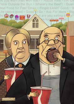 """""""American Gothic Fast Food"""" by Unknown."""