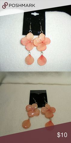 Living flower earrings NWOT Hand crafted Peach colored leaves Orchid leaf earrings encased in resin so the leaves will never die. Jewelry Earrings