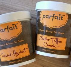 Parfait Organic Artisan Ice Cream. Packaging design.