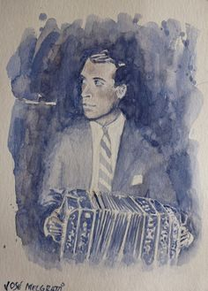 Argentine Bandoneon Player Small one-of-a-kind Painting Original Watercolor  #Realism