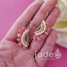 Bead Jewellery, Beaded Jewelry, Jewelery, Handmade Jewelry, Unique Jewelry, Diy Necklace, Diy Earrings, Fashion Earrings, Wire Wrapped Earrings