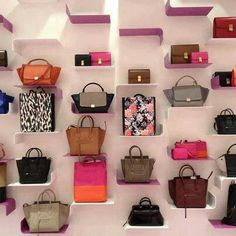 Easy way to see all your purses. Purses as wall art.