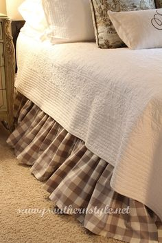 master bedroom at savvysouthernstyle.net. Love the buffalo check bed skirt!