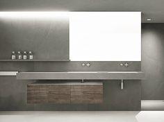 Mobile lavabo doppio in abete con ante con specchio DOOR STRING by Moab 80 design Gabriella Ciaschi, Studio Moab