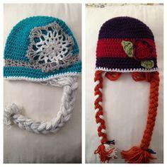 """Disney """"Frozen"""" Princesses Elsa and Anna crochet hats."""