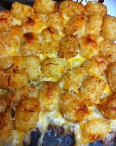 Ingredients:    1-2 lbs ground beef  1 can cream of mushroom  1 bag tater tots  shredded cheese    How to make it :    preheat oven to 375  brown meat in skillet; drain  add cream of mushroom to meat; mix  put meat/soup mixture into casserole dish (the