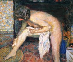 A nude woman fresh from a bath is leaning forward, drying herself with a towel. The painting is by the artist Pierre Bonnard and is an interesting example of Impressionism. Pierre Bonnard, Edouard Vuillard, Paul Gauguin, Oil Painting Abstract, Figure Painting, Watercolor Artists, Painting Art, Watercolor Painting, Maurice Denis
