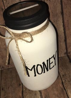 """Excited to share the latest addition to my shop: OOAK """"MONEY"""" Black and White Coin Bank Hand Painted Quart Size Smooth Surface Mason Jar. Only ONE available and ready to ship. Coin Jar, Diy Adult, Beautiful Handwriting, Custom Tags, Mason Jar Diy, Gift Tags, How To Look Better, Great Gifts, Surface"""