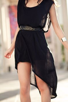belted black dress