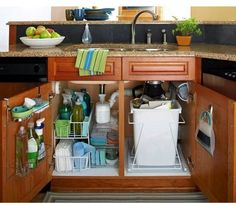 Create Photo Gallery For Website Start with the Kitchen Like this under sink storage Would like to get our trash under the sink and use the bigger cupboard as a cleaning cupboard only