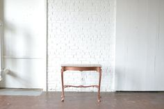Copper Side Table: Unique wooden side table with a beautiful copper finish. Perfect for wedding cake displays or photo shoots. *Paisley & Jade Vintage & Specialty Furniture Rentals for Events, Weddings, Theatrical Productions & Photo Shoots* Rose Gold Side Table, Copper Side Table, Wooden Side Table, Visual Display, Unique Furniture, Dark Wood, Photo Shoots, Wedding Cake, Houston