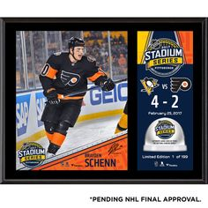 """Brayden Schenn Philadelphia Flyers Fanatics Authentic 12"""" x 15"""" 2017 Stadium Series Sublimated Plaque with Game-Used Ice - Limited Edition of 199 - $59.99"""