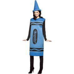 Crayola Blue Crayon Adult Costume ($24) ❤ liked on Polyvore featuring costumes, halloween costumes, blue crayon costume, adult costume, party halloween costumes, party costumes and crayola crayon halloween costume