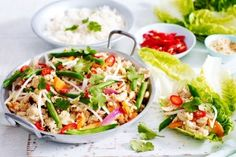 Whip up a sensational Thai inspired dish in under 30 minutes with this tasty chicken larb recipe.Whip up a sensational Thai inspired dish in under 30 minutes with this tasty chicken larb rec Quick Chicken Recipes, Easy Dinner Recipes, Easy Dinners, Indian Food Recipes, Asian Recipes, Ethnic Recipes, Mince Recipes, Savoury Recipes, Dip Recipes