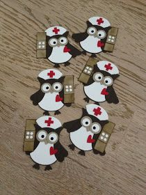 By Connie Richter. Nurses from Stampin' Up owl punch. So cute!
