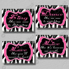 Hot Pink Zebra Print Dance Sing Live Love Quote Art Girls Room Wall Decor on Etsy, $14.99