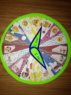 """Feelings Wheel.   Top half has emotions with a dial that reads """"I feel...""""  Bottom half has coping skills with a dial that reads """"I can..."""""""