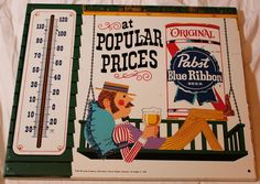 Pabst Blue Ribbon Beer PBR Carnival Worker on Swing 1950'S Tin Thermometer