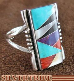 Genuine Sterling Silver Turquoise And Multicolor Inlay Ring Size 9-3/4 DS39077