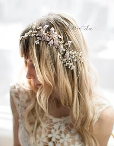 Boho Gold Flower Leaf Hair Vine Wedding Headpiece, Wire Wedding Hair comb, Wedding Gold Hair vine leaves, Boho Headpiece - 'EMMALINE'