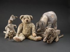 This is how the New York Public Library's five toys--Winnie-the-Pooh and four friends-- looked before their recent restoration. (NYPL Digital Imaging Unit)