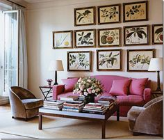 Botanical prints with matching frames. Great arrangement.