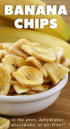Homemade Banana Chips are a healthy, inexpensive, and easy snack the entire family will love. Fresh bananas are sliced and dried in a dehydrator, oven, microwave or air fryer! Air Fryer Oven Recipes, Air Frier Recipes, Air Fryer Dinner Recipes, Deep Fryer Recipes, Homemade Banana Chips, Banana Recipes, Dehydrated Banana Chips, Baked Banana Chips, Banana Snacks