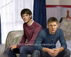 Dean and Sam_ motel room by AmberJoe on deviantART. Perfect Young Dean and Young Sam.