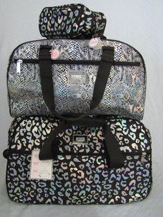 Victoria Secret Pink 3 PC Wheelie Duffel Roller Luggage Set Make Up Bag BK Muli | eBay