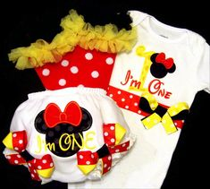 Minnie Mouse First Birthday Girl Outfit, I'm One, Baby Toddler Girl, Red Black Yellow, Number One, Disney, Bloomers, Legwarmers, Bodysuit. $71.50, via Etsy.