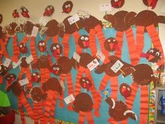 """thanksgiving bulletin board. The little signs say, """"Eat More ____"""". The children complete the sentence and draw a small picture."""