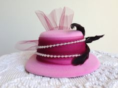 Royal Tea Hats - afternoon tea, cocktail party, bridal and wedding showers - the handmade fascinator top hat clips to hair. So cute for a tea party!