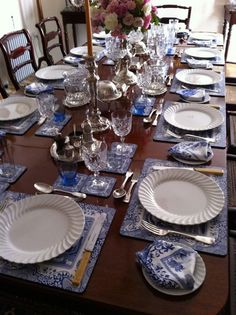Blue and White; Spode Blue Italian Table Love the placemats!!!!
