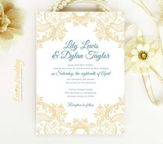 Lace wedding Invitation printed on luxury cream or white pearlescent paper - Gold yellow and teal chic victorian wedding invitation by LemonWedding on Etsy