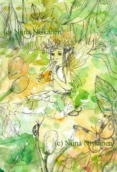Summer Fairy Postcard Fantasy Art Fairy Illustration Postcard Fairy Stationary Fantasy Stationary Fairy Postcard Watercolor Illustration