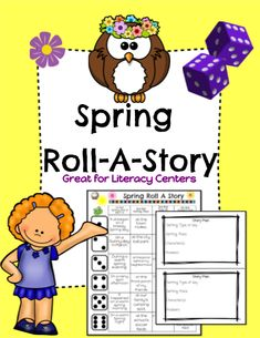 Great editable classroom materials This Spring themed Roll-A-Story will have your students engaged and having fun as they roll a dice to determine the setting, character and problem of their Spring story! There are 2 different types of line Language Activities, Literacy Activities, Literacy Centers, English Activities, Easter Activities, Spring Activities, Holiday Activities, Kindergarten Writing, Kids Writing