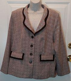 Womens Spago Plus Size Blazer 14W Brown Plaid Polyester Unlined Jacket WB7…